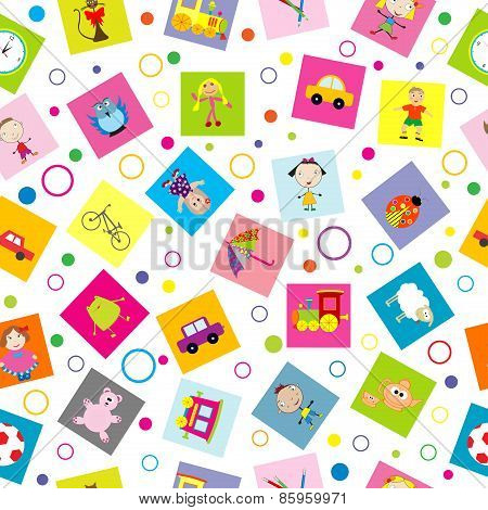 Seamless Background With Toys And Cartoon Kids