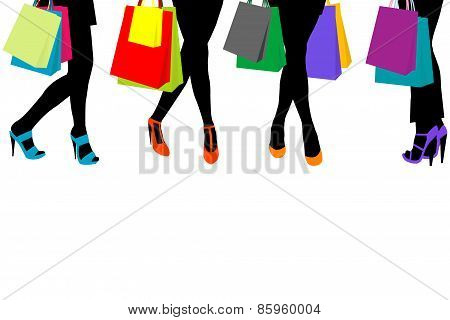 Women Silhouettes Legs With High Heels And Shopping Bags And Place For Text