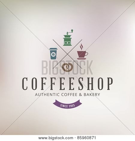 Logo Coffee shop Retro Vintage Label design vector template. Coffeeshop Restaurant Bar Logotype Menu concept icon.