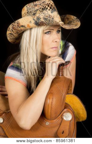 Cowgirl Lean On Saddle Hat On Look To Side