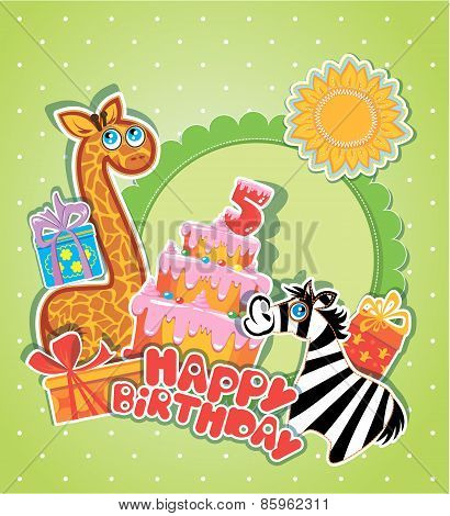 Baby Birthday Card With Girafe And Zebra, Big Cake And Gift Boxes. Five Years Anniversary