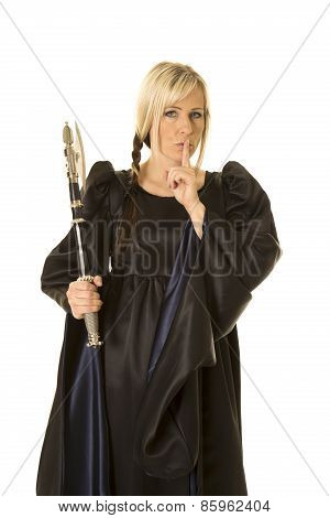 Woman In Black Cloak Hatchet Shhh
