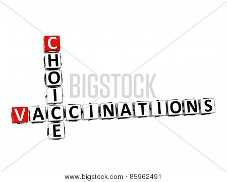 3D Crossword Choice Vaccinations On White Background