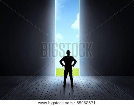 Concept of career and freedom of nature with a bright open gate