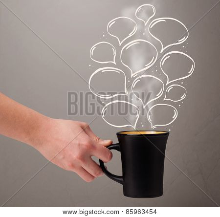 Coffee mug with hand drawn speech bubbles, close up