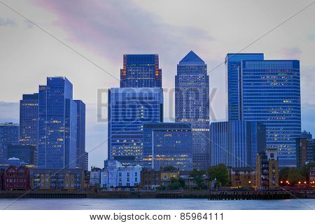 Cityscape of London Docklands financial center at dusk