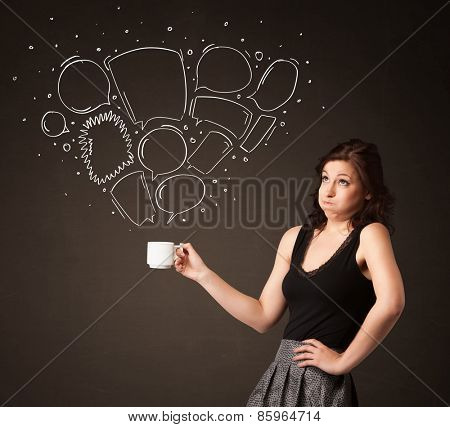 Businesswoman standing and holding a white cup with drawn speech bubbles coming out of the cup