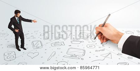 Little businessman looking at hand drawn icons and symbols concept on background