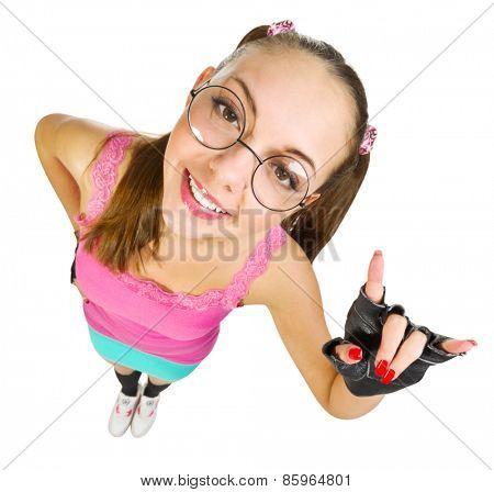 Funny schoolgirl isolated on white