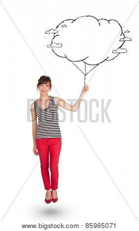 Pretty young lady holding cloud balloon drawing