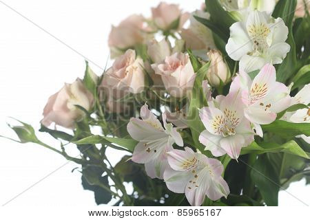 Bouquet Of Beautiful Pink Roses And Alstroemeria