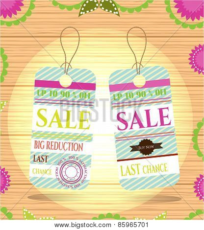 Set of two summer, beautiful, isolated stickers with text Sale, retro design