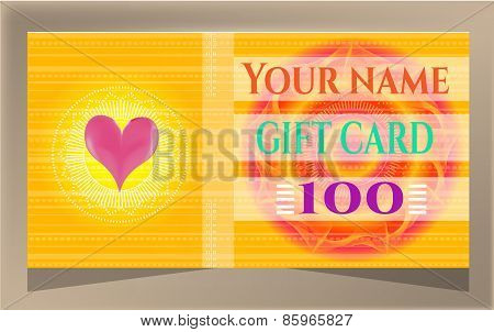 Elegant, dotted, yellow gift card with text and huge sun