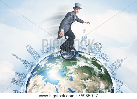 Man riding unicycle around the globe with major cities concept,