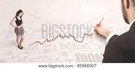Business woman looking at red arrow drawn by a hand concept on background