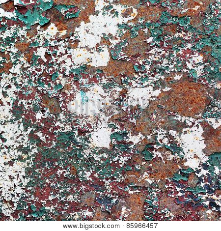 Abstract Rusty Metal Surface With Cracked Paint Green And Burgundy. Textured Background For Your Con