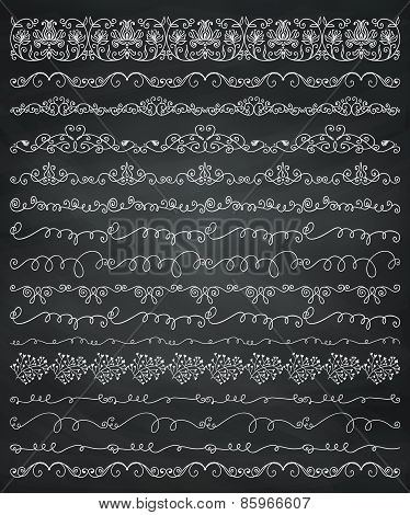 Chalk Drawing Borders and Frames, Dividers, Swirls