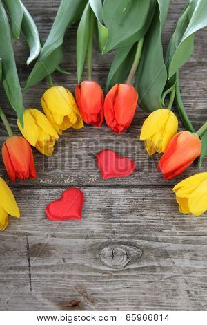 Bouquet Of Tulips And Hearts