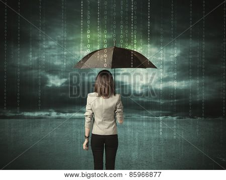 Business woman standing with umbrella data protection concept on background