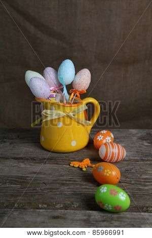 Easter Eggs In A Yellow Jug