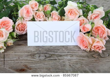 Bouquet Of Pink Roses And Greeting Card