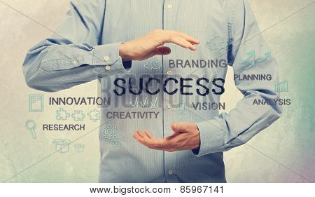 Success Concept With Man And Handwriting Cartoon