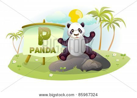 Funny Cartoon Alphabet P With Panda