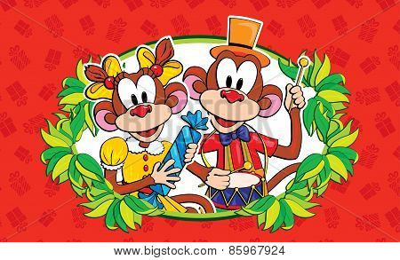 Funny monkey on a bright background. symbol 2016.