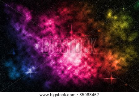 Deep Space Starfield With Colorful Nebula, Background