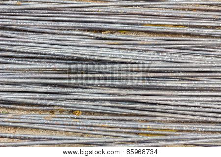 Rusty Iron Rod On The Ground For Construction