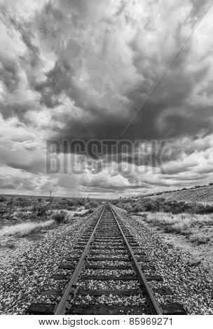 Black And White Desert Railroad Scene