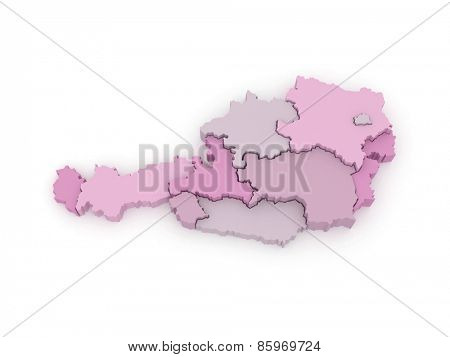 Three-dimensional map of Austria. 3d