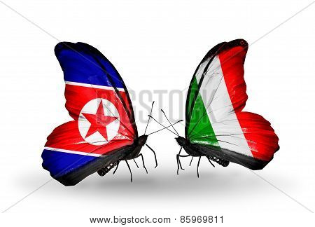 Two Butterflies With Flags On Wings As Symbol Of Relations North Korea And  Italy