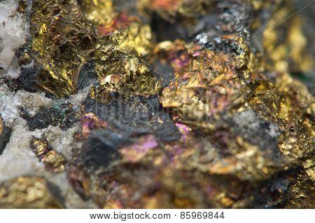 Chalcopyrite Copper Iron Sulfide Mineral Macro.