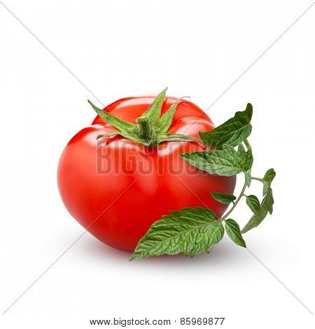 tomato with green leaf isolated on white background
