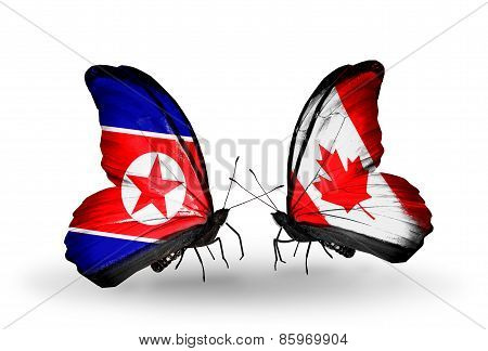 Two Butterflies With Flags On Wings As Symbol Of Relations North Korea And  Canada