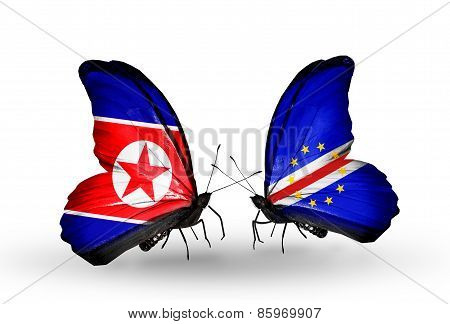 Two Butterflies With Flags On Wings As Symbol Of Relations North Korea And  Cape Verde