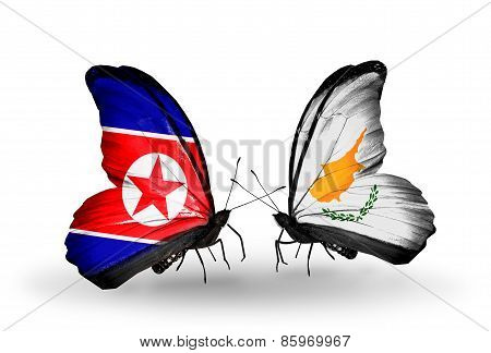 Two Butterflies With Flags On Wings As Symbol Of Relations North Korea And  Cyprus