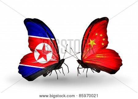 Two Butterflies With Flags On Wings As Symbol Of Relations North Korea And   China