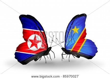 Two Butterflies With Flags On Wings As Symbol Of Relations North Korea And  Kongo