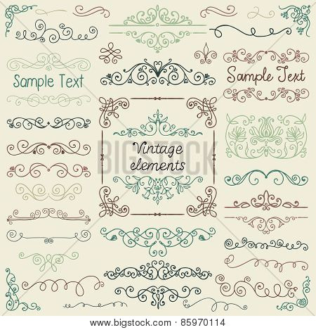 Vector Colorful Hand Drawn Doodle Design Elements