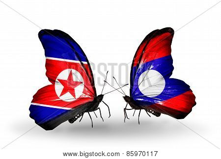 Two Butterflies With Flags On Wings As Symbol Of Relations North Korea And   Laos