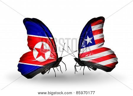 Two Butterflies With Flags On Wings As Symbol Of Relations North Korea And Liberia