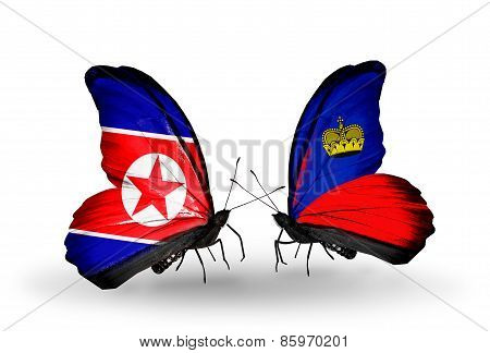 Two Butterflies With Flags On Wings As Symbol Of Relations North Korea And  Liechtenstein
