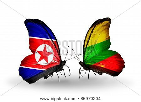 Two Butterflies With Flags On Wings As Symbol Of Relations North Korea And  Lithuania