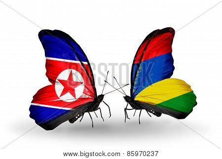 Two Butterflies With Flags On Wings As Symbol Of Relations North Korea And  Mauritius
