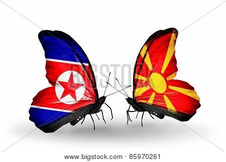 Two Butterflies With Flags On Wings As Symbol Of Relations North Korea And  Macedonia