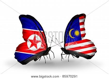 Two Butterflies With Flags On Wings As Symbol Of Relations North Korea And  Malaysia