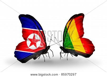 Two Butterflies With Flags On Wings As Symbol Of Relations North Korea And   Mali