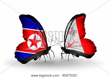 Two Butterflies With Flags On Wings As Symbol Of Relations North Korea And Malta